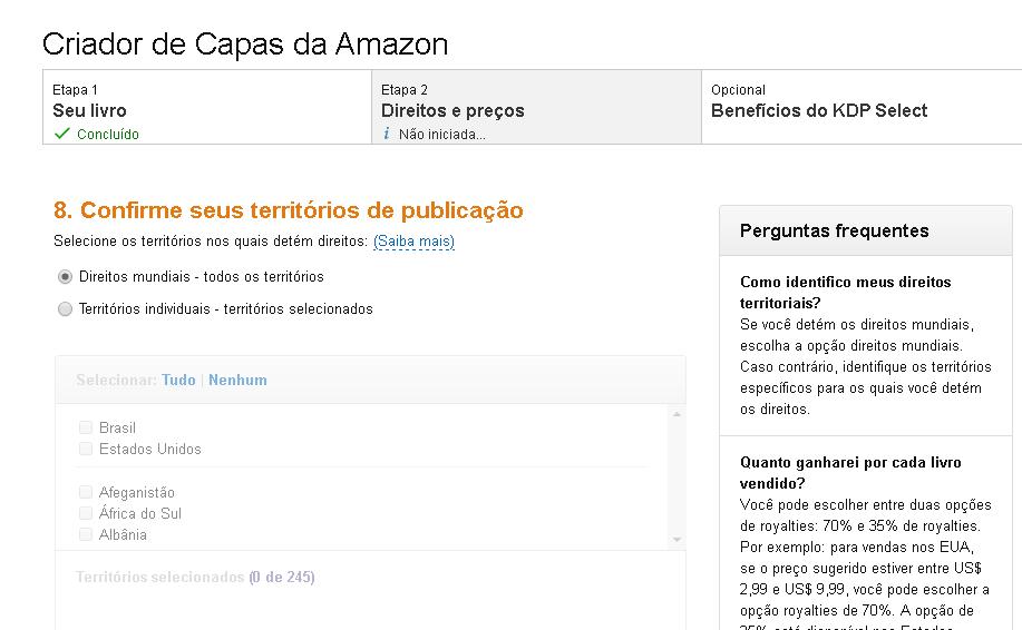 opções de territórios da Amazon
