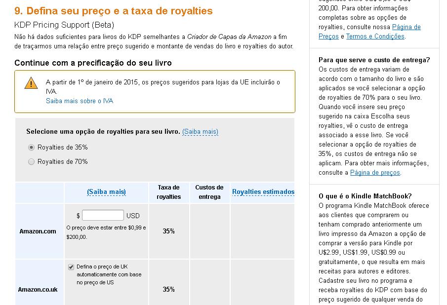 preços de livros no Kindle Amazon