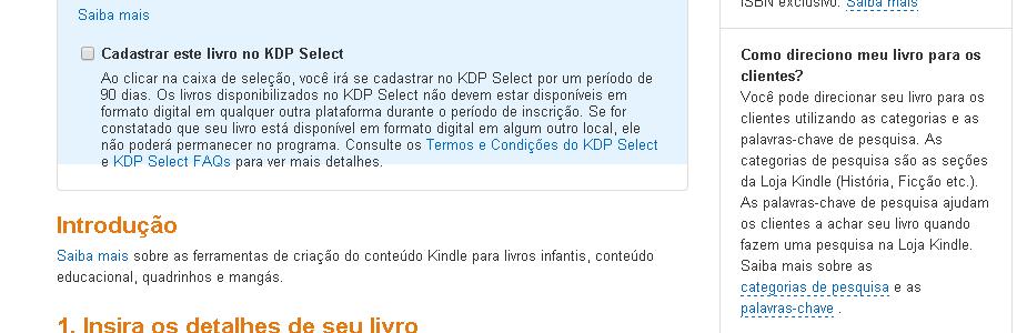 Cadastrar livro no KDP Select