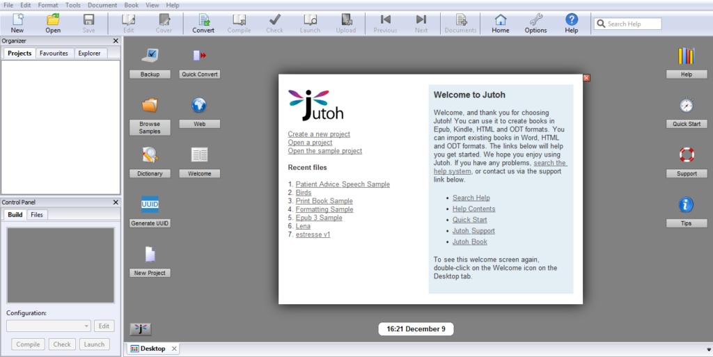 Conversão de ebooks com Jutoh