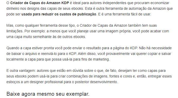 Descrição de ebooks para Amazon